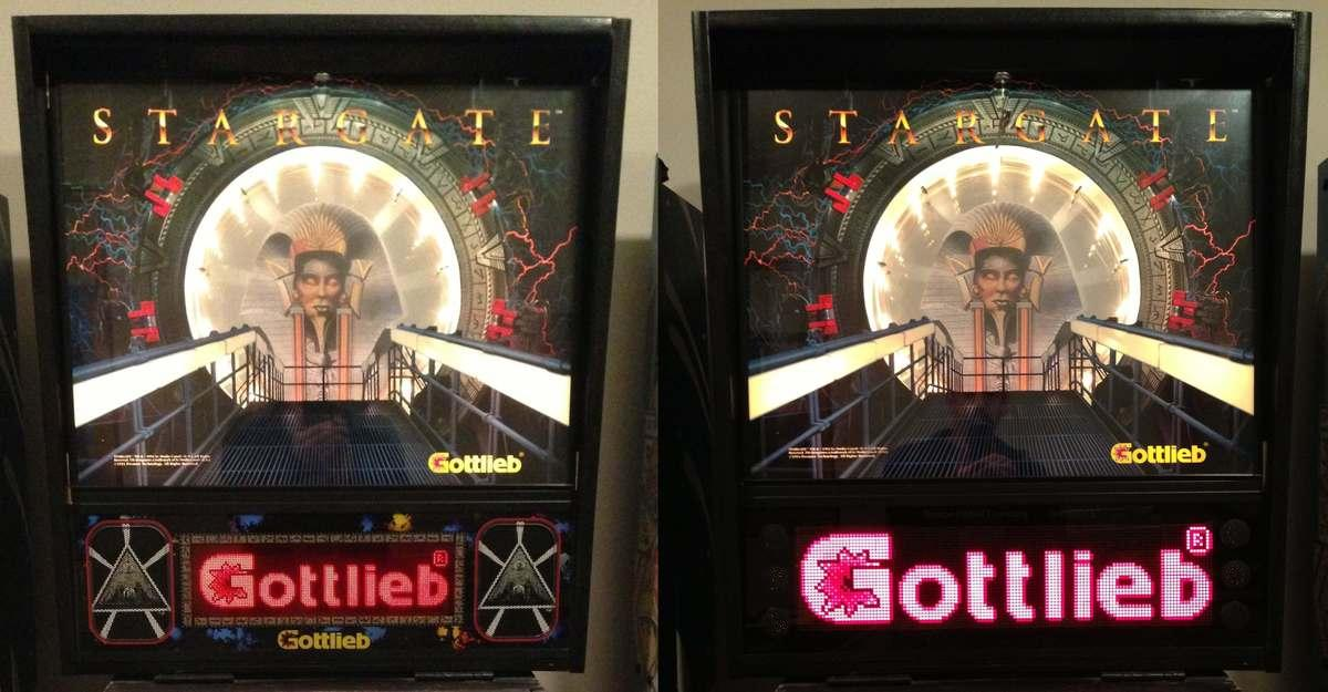 GiantDOTS LED dot matrix display DMD on a pinball machine